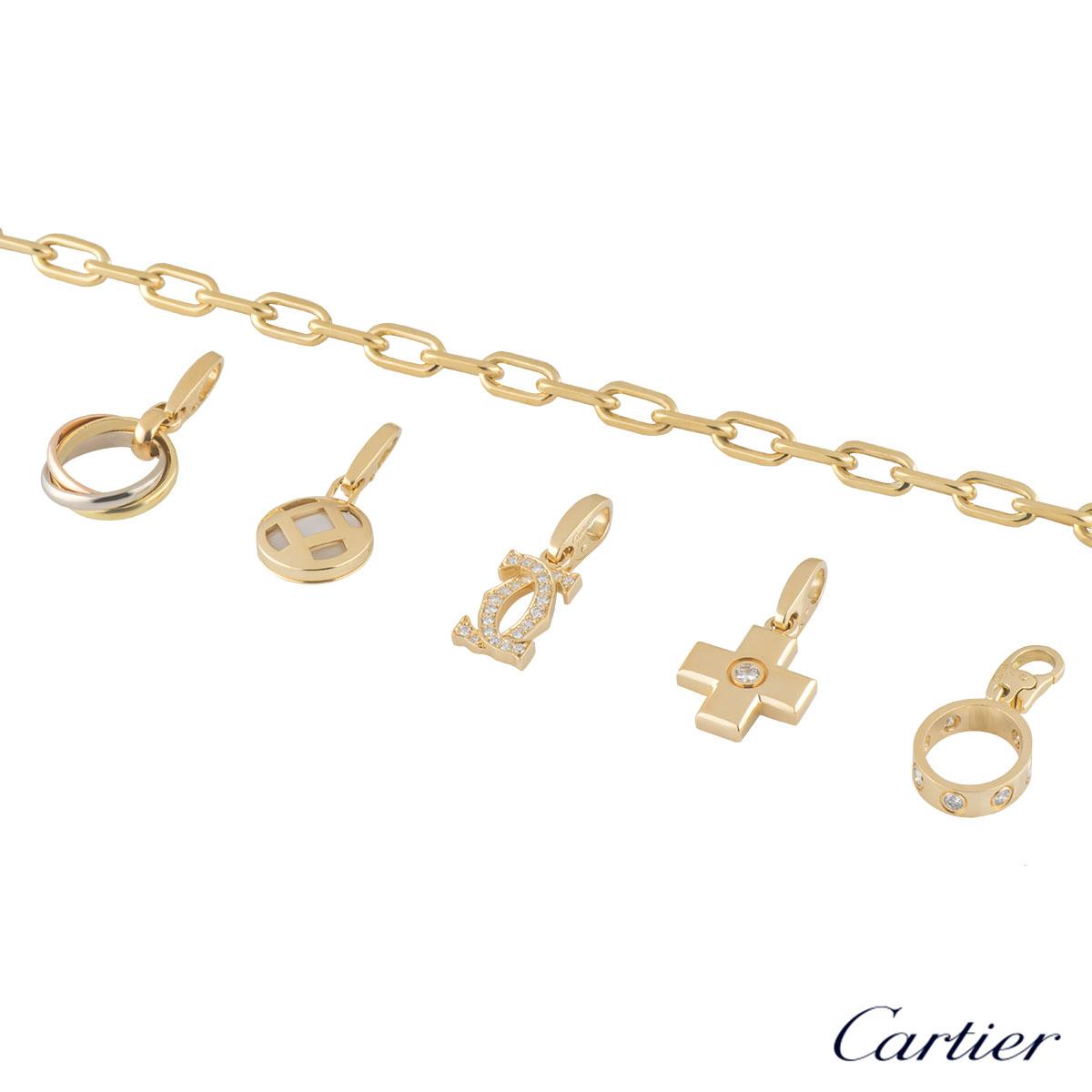 Cartier Yellow Gold Diamond Charm Bracelet